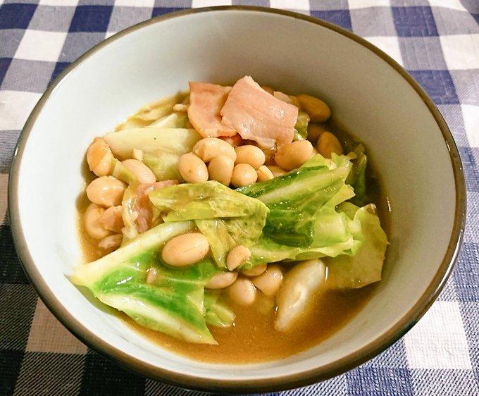キャベツと大豆のカレー煮